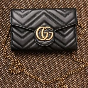 GG Marmont Chevron Quilted Leather Flap Wallet